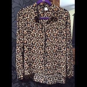 Leopard Print Button-up Hi-Low Blouse
